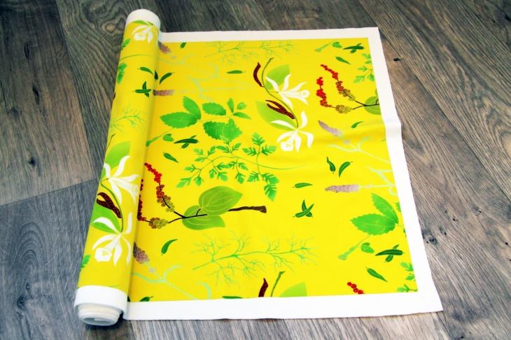 Bright yellow Herbs fabric