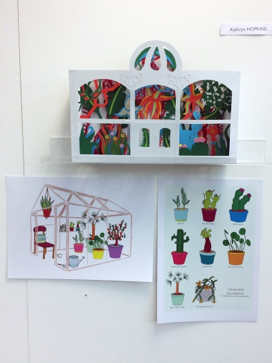 Papercut glasshouse and prints