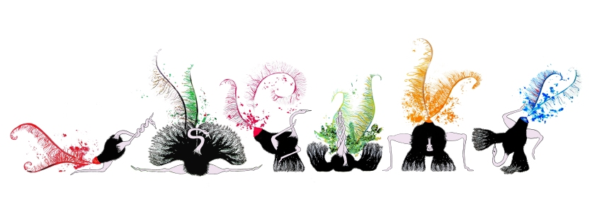 Contorting Ostriches, commissioned piece for a client to hang in their home.