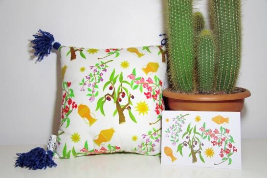 Greek cushion and artwork